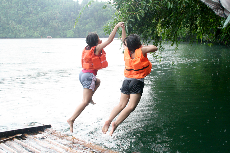 jumping in pandin lake